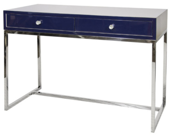 Worlds Away - Worlds Away - William Navy Desk - William Nvyss - The Worlds Away Williams desk delivers a distinctly posh presence. Atop simplistic silver legs, its glossy navy top lends the mod office sleek sophistication.