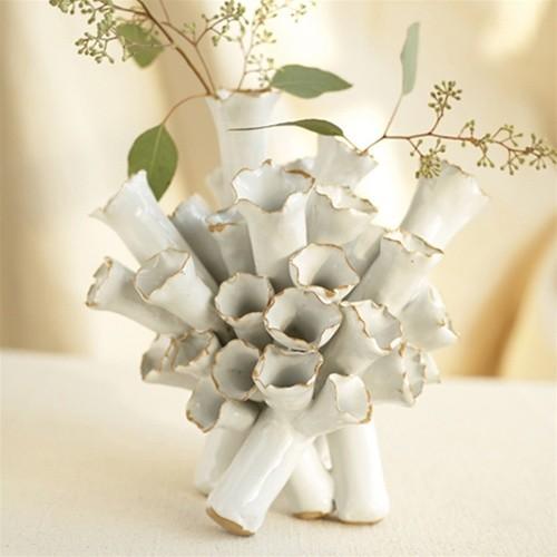 Set of 2 Flowering Tube Barnacle Vases tropical-vases