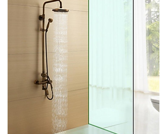 Shower Faucets - Antique Brass Single Handle Wall Mount Rain & Handheld Shower Faucet--FaucetSuperDeal.com