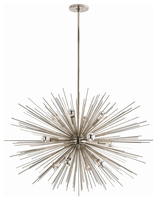 Zanadoo chandelier polished nickel large modern for Large modern chandelier lighting