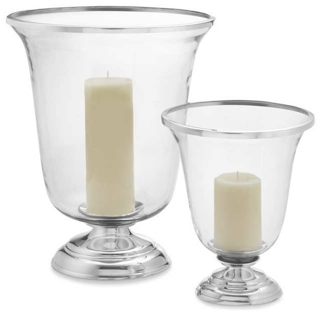 Silver Plated Hurricane Traditional Candleholders By