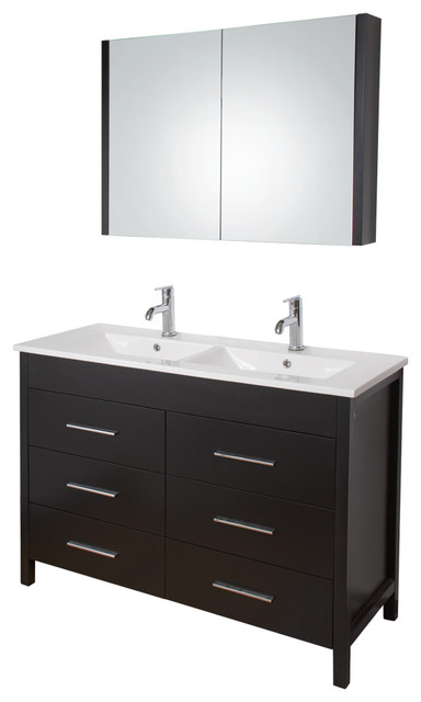 VG09042002K 48 Inch Maxine Double Bathroom Vanity With Medicine Cabinet C