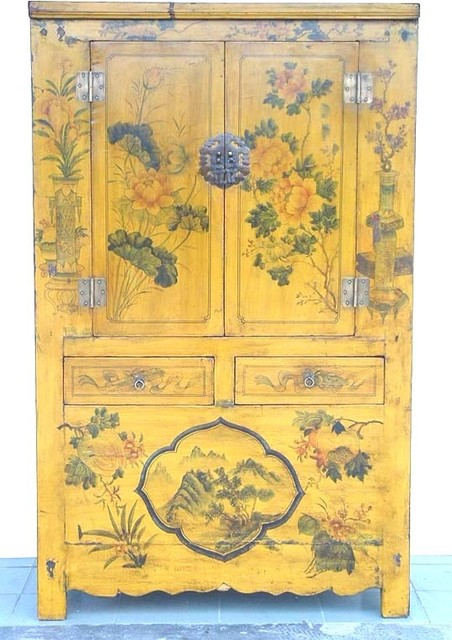 Asian Rare Yellow Lacquered painted flowers Antique Chinese Chinoiserie Cabinet - Asian - China ...