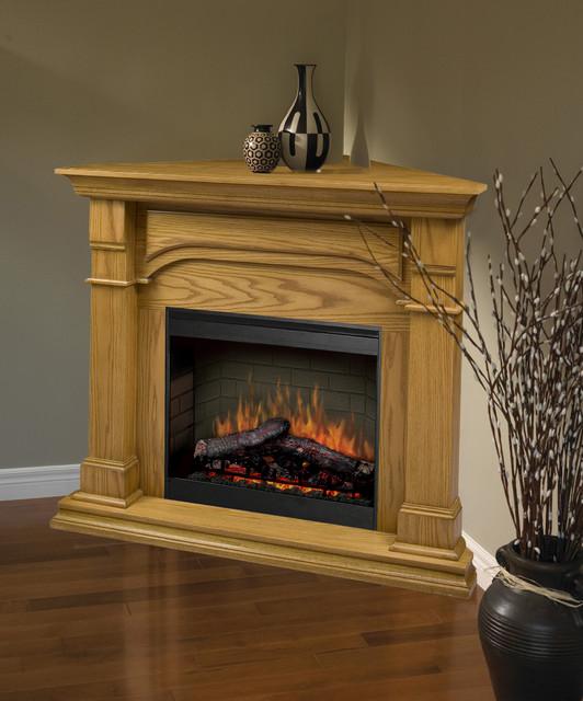 Oxford medium oak corner electric fireplace smp 195c o for Indoor corner fireplace