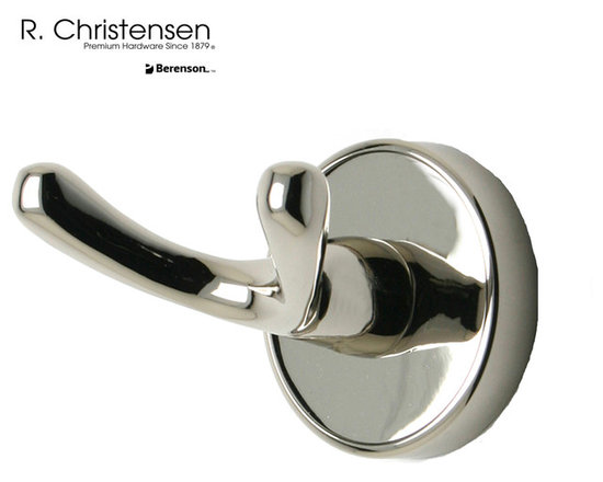 2210US14 Polished Nickel Double Robe Hook by R. Christensen - 2-3/8 inch long contemporary style double robe hook by R. Christensen in Polished Nickel.
