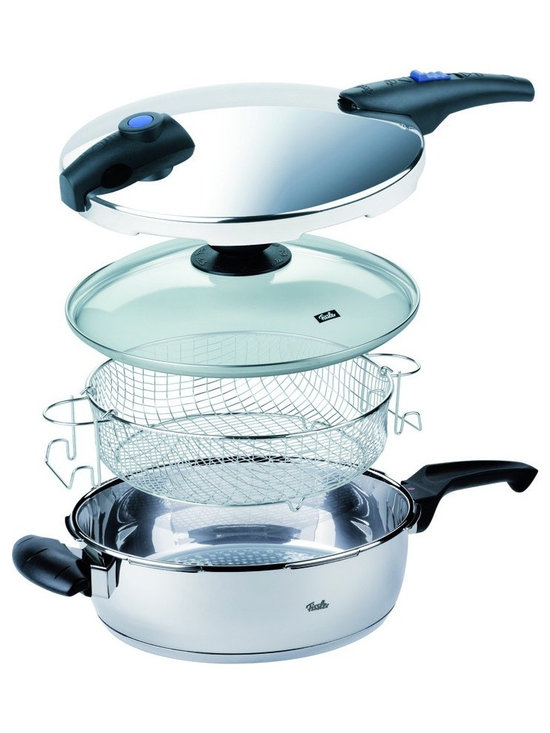 Blue Point Pressure Pan Set by Fissler - This Fissler cookware set lets you cook 6 different ways with one basic pressure pan. You can sear, fry, grill, saute, steam and pressure cook with this attractive stainless steel pressure cooker. It includes a pressure lid, a glass lid and a steamer basket. Great size for everyday cooking or a smaller family.
