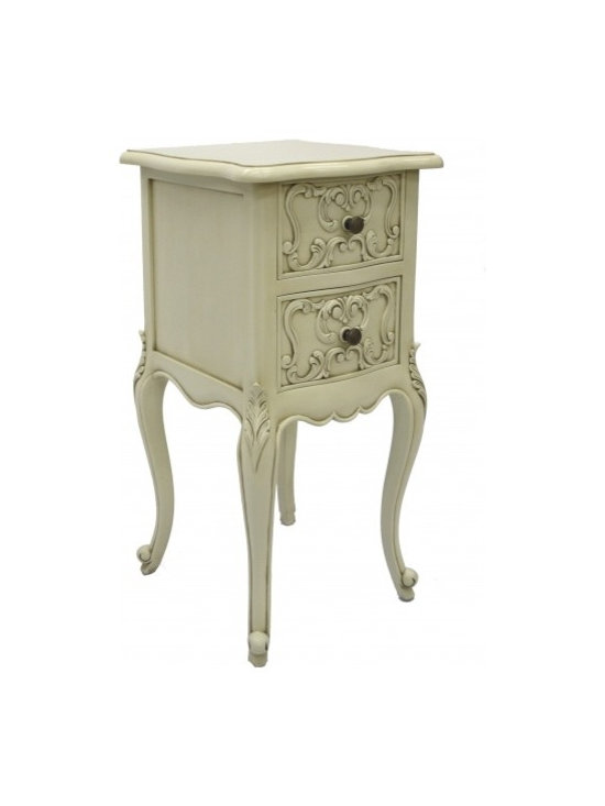 Chichi Furniture Exclusives. - Perfect for those areas where space is limited! This small bedside cabinet, has 2 intricately carved drawers, and delicately curved legs. A gorgeous petite bedside cabinet, proving that small is beautiful!