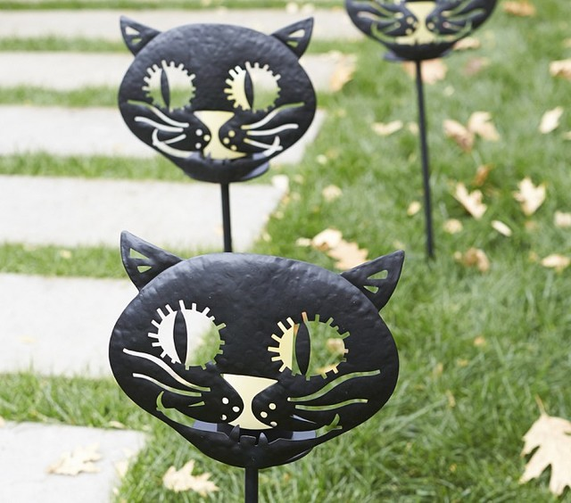 Cat luminary stake contemporary outdoor holiday for Christmas cat yard decorations