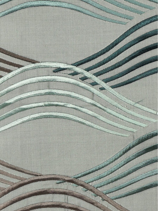 Grey Custom Made Embroidered Dupioni Silk Curtains - It looks like ripples are spreading in shimmering waves all over the lake when a stone is thrown into still water. Both creative and lovely.