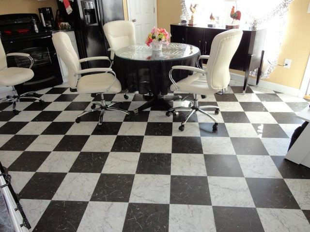 Retro black white kitchen floor vinyl flooring cincinnati by floor coverings - Retro flooring kitchen ...