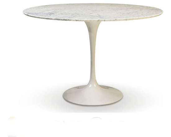 "Rove Concepts - Eero Saarinen Round Tulip Table White Cararra Marble - Beautiful Eero Saarinen Tulip Marble, Solid marble top in white, manufactured with Carrara Marble polished with a smooth edge. White marble top has natural grey veins. Glossy Aluminum Cast base bottom available in white - Available in 5 different diameters: 36"", 40"", 44"", 48"" or 52"""