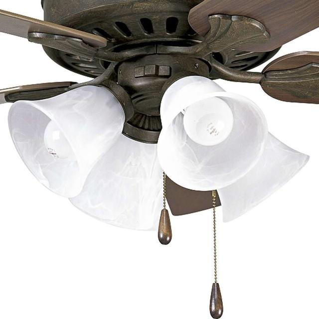 Progress Lighting Alabaster Glass Four Light Fan Light Kit