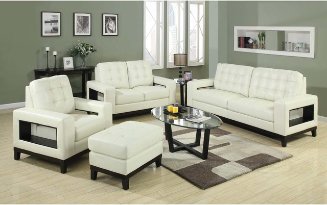 Coaster Modern Cream Leather Sofa Couch Loveseat Arm Chair