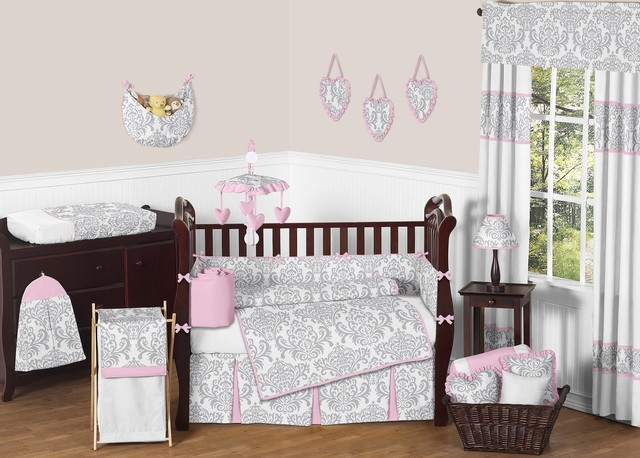 Elizabeth Damask 9-Piece Baby Crib Bedding Set by Sweet Jojo Designs traditional-kids-bedding