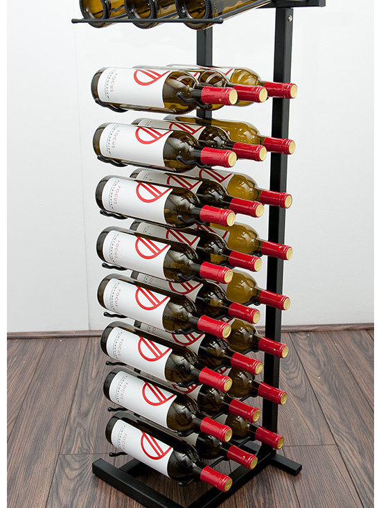 VintageView Point of Purchase Display Wine Rack - A freestanding wine rack for a presentation and storage combo of 27 wine bottles. These modular wine racks may be connected side by side or back to back for a long countertop display row. Durable and sturdy racks keep wines safe while on display. Perfect for wine and liquor stores and hospitality locations!