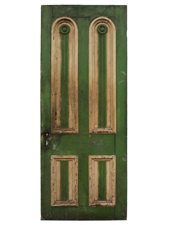 """Antique Doors - Antique 32"""" Green Door with Arched Panels, c. 1820's-1840's"""