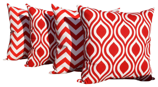 Zig Zag Red and Lipstick Red and White Ogee Indoor Throw Pillows - Set of 4 contemporary-decorative-pillows