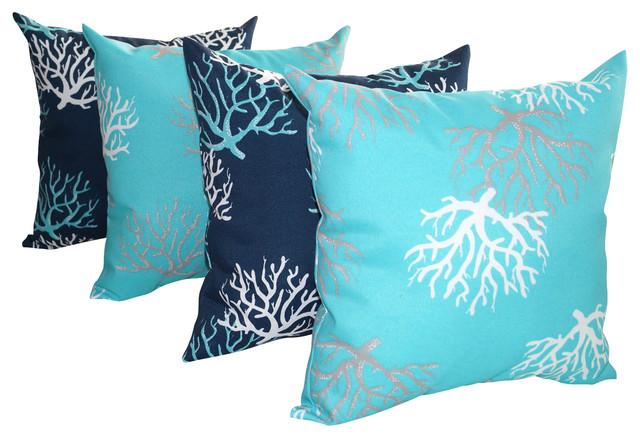 Outdoor Beach Throw Pillows : Isadella Coral Oxford Navy and Ocean Outdoor Decorative Throw Pillow - Set of 4 - Beach Style ...