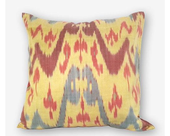 ikat pillow covers, ikat, ikat cushion, yellow ikat, blue ikat, red ikat, ikat - ikat pillow, ikat pillow cover, uzbek ikat 20x20 size