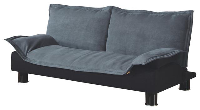Monarch Specialties I 9006 Grey Fabric Black Split Back