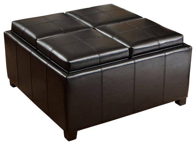 Durango 4 Tray Top Storage Ottoman Coffee Table Contemporary Ottomans And Cubes By Great