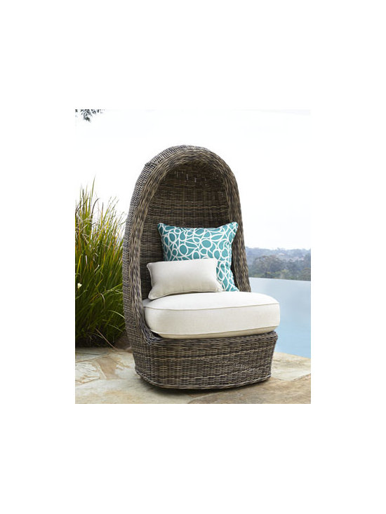 Horchow - Summer Swivel Lounge Chair - Hooded lounge chair offers all-season swivel seating. Its smooth swivel motion gives you the freedom to pivot in place with minimal effort. Handwoven of high density polyethylene fibers. Frame constructed of cold-drawn, premium-quality aluminum tubing. Unique drainable cushion and pillows covere