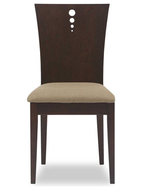Bryght - Flora Latte Fabric Upholstered Light Cappuccino Dining Chair - The Flora dining chair offers sophistication with a modern twist with its beautifully grained flared back design. The two-dimensional curved backrest accentuated by three solid stainless steel bolts and a firm padded seating offers sturdiness with dependable comfort.