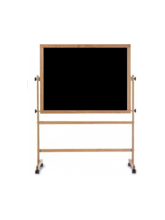 Economy Rolling Free Standing Chalkboard, Black With Wood Easel -