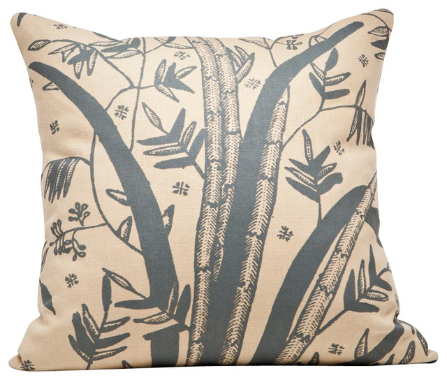 Indochine Friendship Reed Pillow, Wheat/Charcoal contemporary-pillows