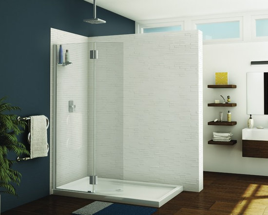 "Fleurco Evolution Monaco 39""- 40"" Square Top Shower Shield with Fixed Panel VWXS - European style support bars"