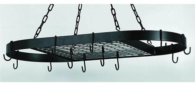 Oval Matte Black 12-hook Grid Hanging Pot Rack contemporary-pot-racks-and-accessories