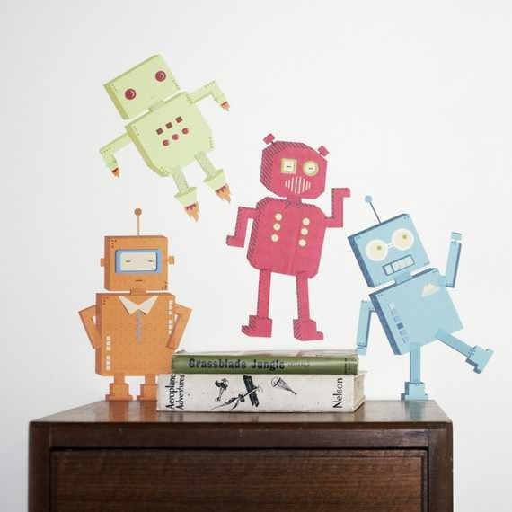 Mae wall decals robots modern kids wall decor for Robot baby room decor