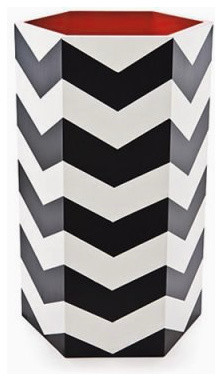 Hand-Painted Umbrella Stands, Chevron Stripe With Red Interior modern-coat-stands-and-umbrella-stands