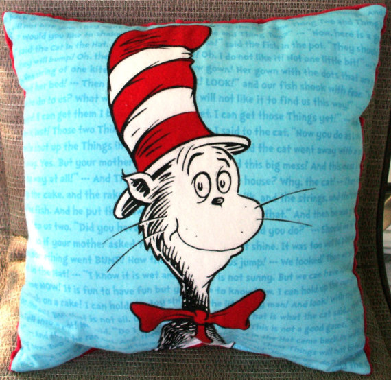 Dr. Seuss Cat in the Hat Childs Pillow by Kreations by Kona eclectic kids bedding