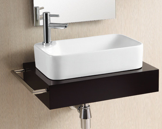 "Caracalla - Gorgeous Modern Rectangular Vessel Sink by Caracalla - Rectangular white ceramic bathroom sink with modern design. Above counter vessel sink designed in Italy by Caracalla. Stylish bathroom Sink includes a single faucet hole but comes without overflow. Sink dimensions: 18.11"" (width), 5.12"" (height), 11.02"" (depth)"