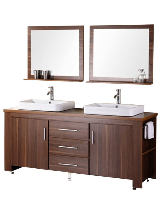 """Design Element - Design Element Washington 72"""" Espresso Double Vessel Sink Vanity Set - Toffee - The 72"""" Washington Vanity is stylishly constructed of solid plywood panels with veneer laminate to express the richest finish. The hybrid vessel drop in sinks and sleek cabinetry bring style and utility to any bathroom. The sinks rectangular round corner design beautifully contrast with the cabinets sleek lines and Toffee finish. This vanity includes side storage, two large soft closing cabinets and three center drawers adorned with satin nickel hardware. Included are two Toffee framed mirrors with shelf. The Washington Bathroom Vanity is designed as center piece to awe-inspire the eye without sacrificing quality, functionality or durability."""
