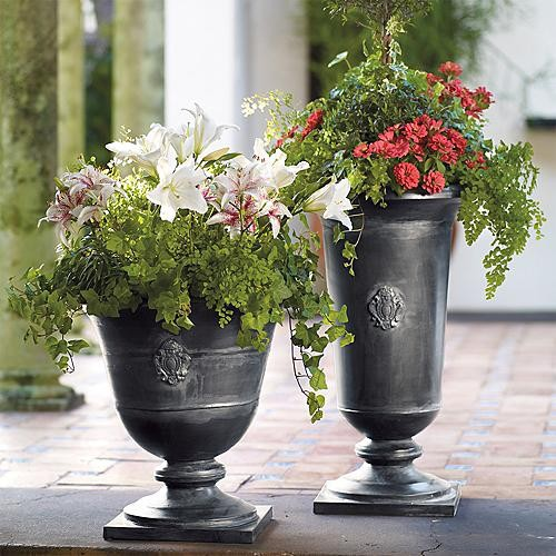 "Sofia Zinc Planters - Medium (17-3/4"" dia. x 30""H) - Frontgate traditional-indoor-pots-and-planters"