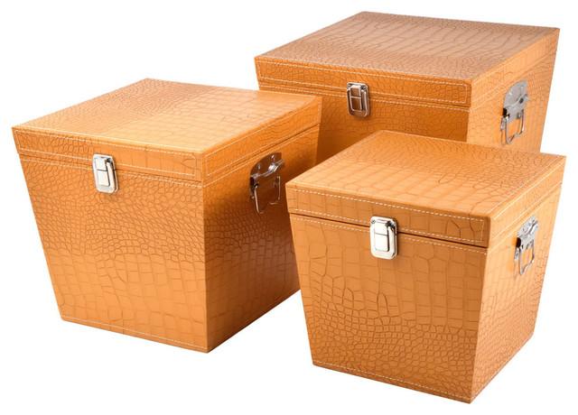Decorative Hat Boxes Uk : Faux crocodile skin square hat boxes set of lg