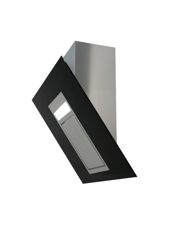 """Black Diamond"" Glass Range Hood by Futuro Futuro - The ""Black Diamond"" designer range hood from Futuro Futuro features a combination of jet-black tempered glass frame around a stainless-steel suction core, for an ultra-modern look. Made in Italy. See website for complete specifications, features, current prices, and online ordering."