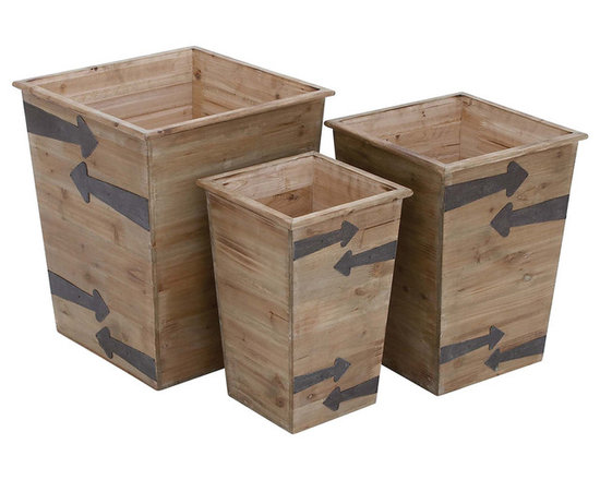 Tapered Wood Planters, Large, Set of 3 -