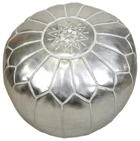 John Derian Company Inc. Silver Pouf eclectic-footstools-and-ottomans