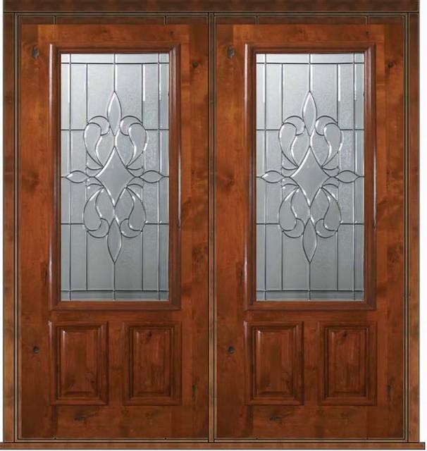 Prehung Entry Double Door 80 Alder New Orleans 2 Panel 2 3 Lite Glass Mediterranean Front