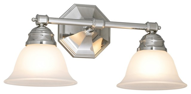 """Country - Cottage Kathryn 8 1/2"""" High Chrome Finish Dual Light Bath Fixture traditional-bathroom-lighting-and-vanity-lighting"""