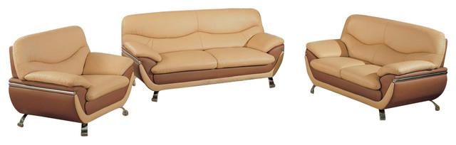 3 Pc Modern 2 Tone Leather Living Room Set 2106