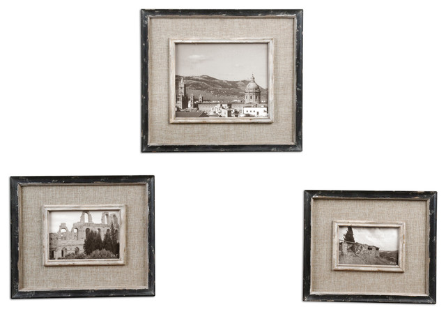 Kalidas Cloth Lined Photo Frames, Set/3 traditional-picture-frames