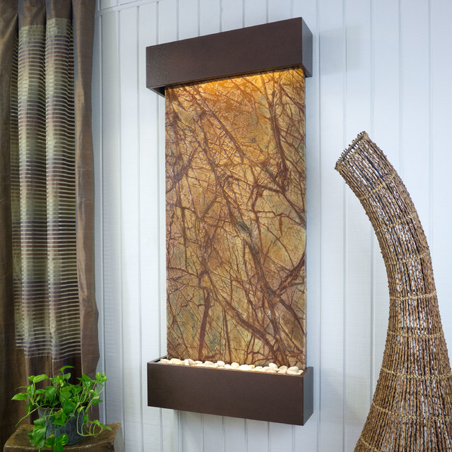 Nojoqui Falls Classic Quarry Slate Fountain - Rainforest Brown Marble & Copperve modern-indoor-fountains