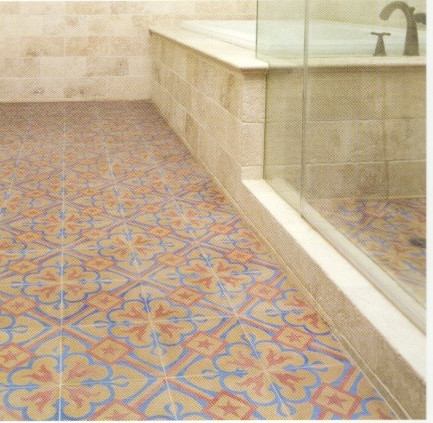 Tradional bathroom with old design floor spanish style for Bathroom tiles spain