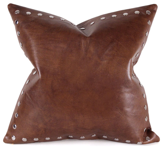 Decorative Leather Pillows : Leather Pillow with Studs, Saddle Brown, 12 x 18 - Contemporary - Decorative Pillows