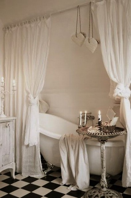 Clawfoot Tub with Curtains Traditional Bathroom