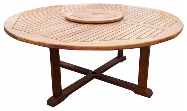 Round Dining Table In Teak Modern Outdoor Tables New York